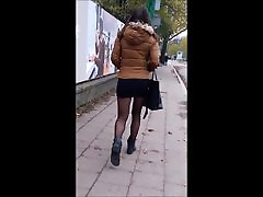 76 Girl with sexy legs in black pantyhose and mini skirt