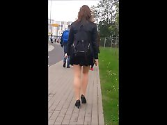 81 Smoking girl with nice legs in mini skirt and pantyhose