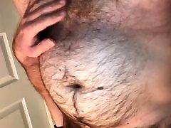 Fat, hairy norwegian bear shaking his big belly