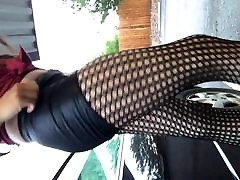 Latex booty shorts in public!!