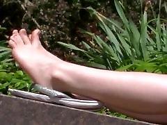 Candid feet of redhead college girl
