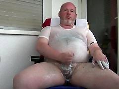 bear gay daddy jerking on balcony
