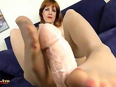 Tan pantyhose footjob by Irina Vega