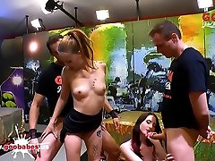 Gorgeous Young Sluts Bibi and Lia-Louise Work Hard for Cum