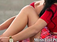 Wild milf and her stepdaughter have raunchy lesbian sex