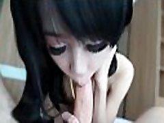 Asian ladyboy teenie tasting cock