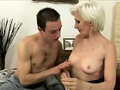 Grey haired granny in stockings fucked