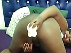 Sexy young ebony babe with big tits loves her new dildo