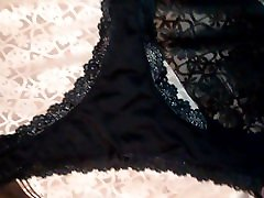 Cummimg on my cousins sexy black thong