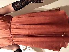 Skinny teen sissy in red little dress showing I