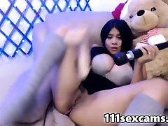 Amateur BBW latina with huge boobs dildoing on webcam