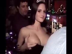 Pretty girl flashing her big tits
