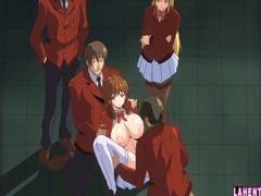 Huge titted hentai schoolgirl gets gangbanged