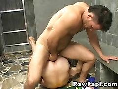 Hunk Latino Bareback sex on the Shower