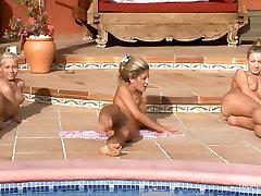 3 oiled teen lesbians do morning exercises