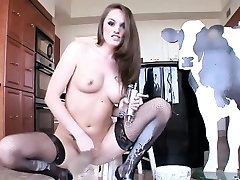 Stockinged messy ass enema slut