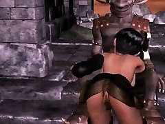 Hot 3D babe sucks cock and gets fucked by a monster