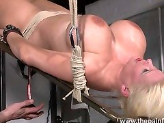 Rough water bondage and interracial kimber lace lesbian sex of busty masochist Melanie Moon in german bdsm whipping and kinky punishment