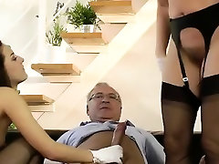 Rammed stockings milf eats out