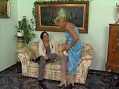 Mature Blonde in white hold ups fucks