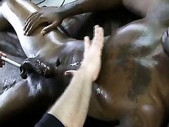 Black muscled amateur jock gay tugged
