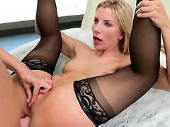 Lesbian couple using strapon in babes tight ass