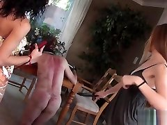 Two Dommes Whip slave