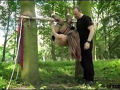 Teen amateur part real slave tiedup outdoors has screaming orgasm