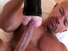 Solo gay stud masturbating with his toy
