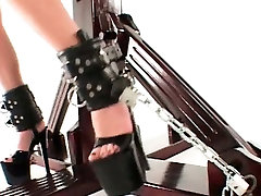 Horny sex slave fucked with BDSM pussy pump