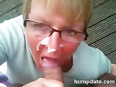 Mature babe gives handjob and gets facialized