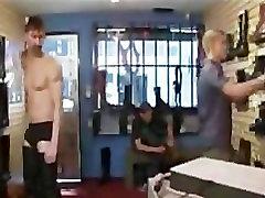 Public Gay Slave Bondage and Gang Bang at Stompers Boots