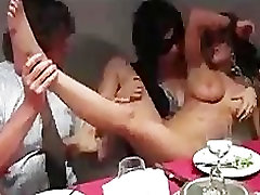 Bound busty babe serving at dinner party full of strangers