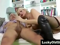 Old guy sucked and fucked by blonde in thigh boots
