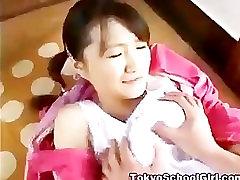 Japanese asian schoolgirl fingered hard