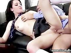 Old man pummeling naughty schoolgirls pussy