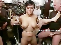 Brunette with big tits in public sex