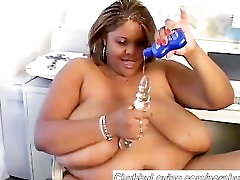 Sexy black BBW plays with her wet pussy