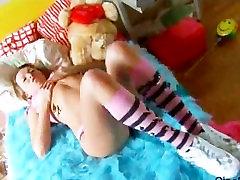 Teen Ricarda in panties opens her pussy