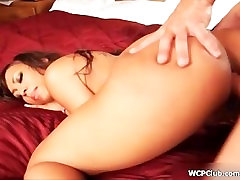 Hot ebony whore goes crazy riding a cock with her two horny holes