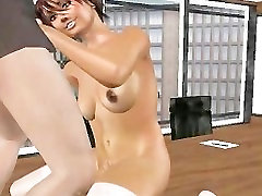 A hot 3d whore takes a load on her tits by old man
