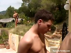 Raunchy Boys Amazing Outdoor Private Villa Anal Fucking Spree