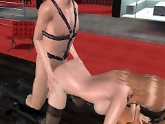 Sexy 3D blonde babe gets double teamed in the club