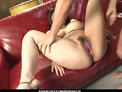 Big breasted and pretty Asian got her wet pussy finger drilled