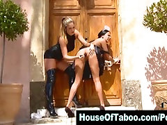 Lesbo domina toys bound maids ass outdoors and tweaks her nipples