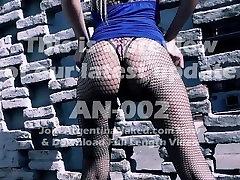 Very Busty Blonde In Fishnet Body Suit Exposing Cameltoe!