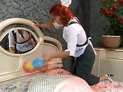 Lesbian gives redhead maid intense anal finger fucking