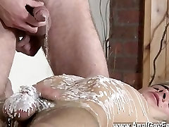 Twinks XXX Brit lad Oli Jay is tied down to the table, his sleek and