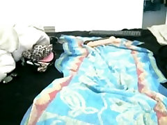 Sexy ebony babe rides on a really huge dildo on webcam