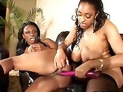 Two Ebony Milfs Share A Dildo